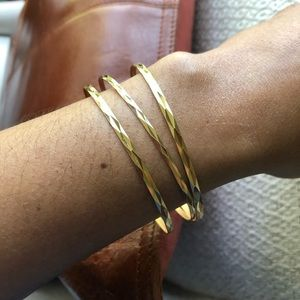 18K Solid Yellow Gold Bangle Bracelets